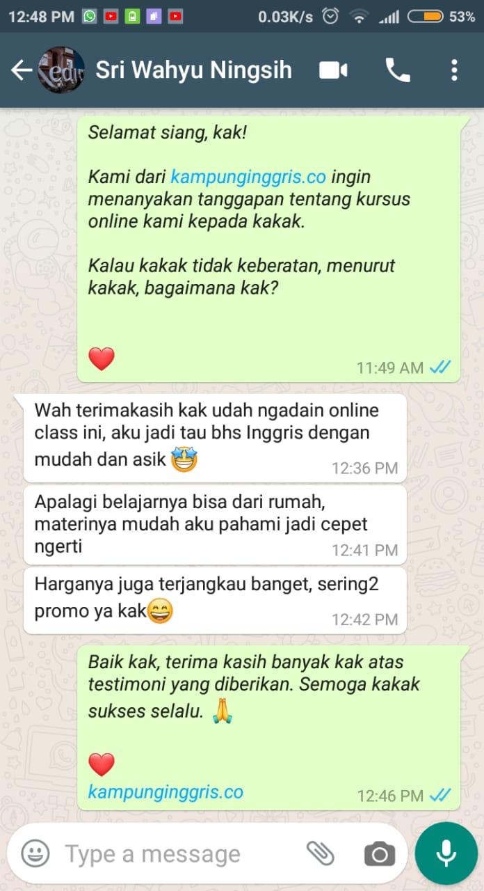 Testimoni kelas online kampung inggris 04